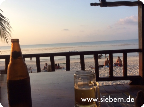 Bier mit Sonnenuntergang